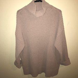 Oversized Dusty Pink Turtleneck Sweater- SOFT!